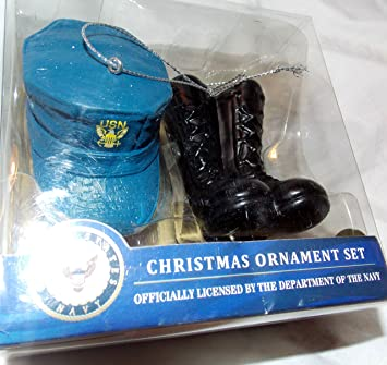 Amazon.com: Kurt S. Adler U.S. Navy Christmas Ornament Set Cap And ...