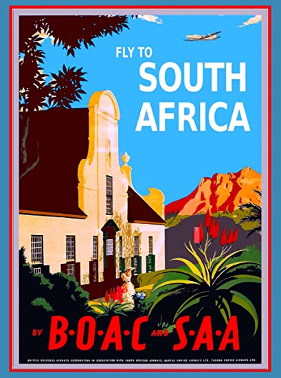 Fly To South Africa Airplane Vintage African Travel Advertisement Collectible Wall Decor Poster Print Measures