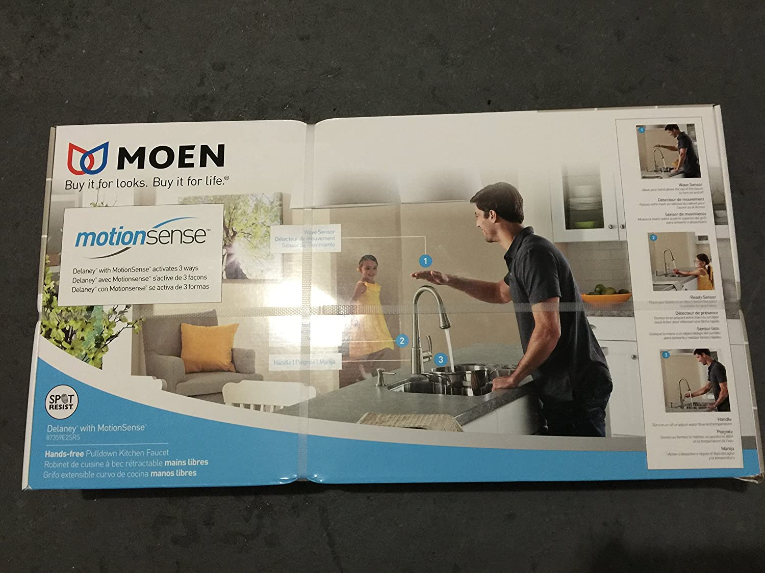 Moen 87359ESRS Single Handle Pullout Spray Kitchen Faucet from the ...