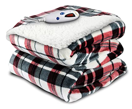 9e3e5baf629 Image Unavailable. Image not available for. Color  Biddeford Blankets  Velour and Sherpa Heated Throw ...