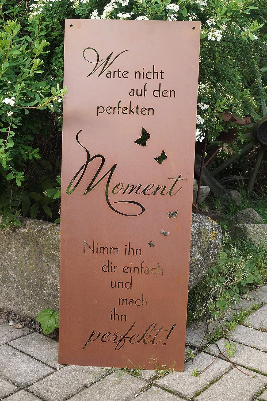 Edelrost Gartenschild Perfekter Moment Spruchschild Wandtafel Metallschild Rost
