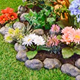 14 Piece Stone Effect Plastic Garden Edging - Hammer-In Lawn Pebble Border / Rockery