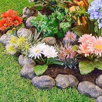 14 Piece Stone Effect Plastic Garden Edging   Hammer In Lawn Pebble Border  / Rockery