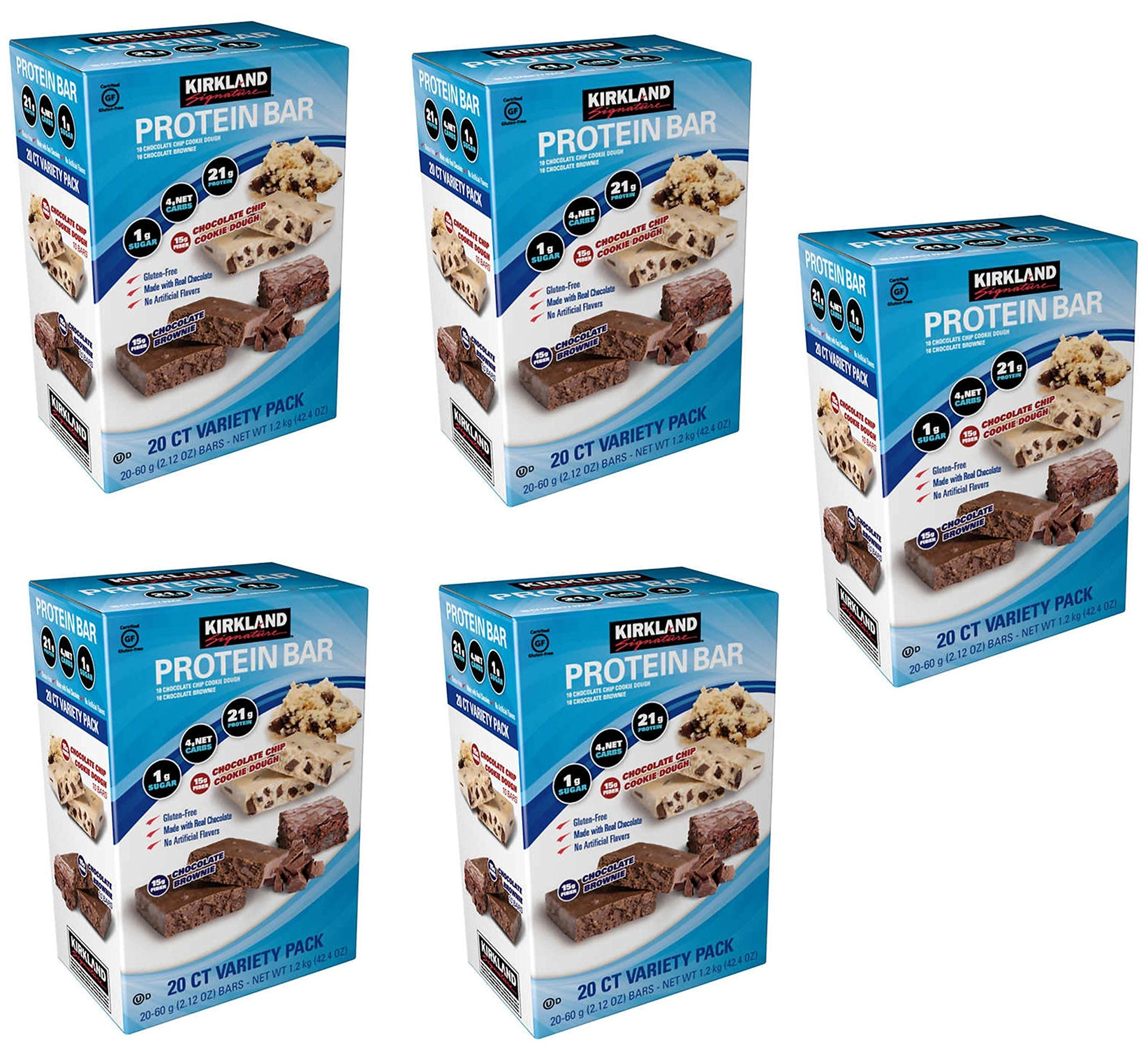 Kirkland Signature Variety Protein Bars 20 count, 21G Of Protein, 4G Of Carbs and 1G Of Sugar, Chocolate Brownie and Chocolate Chip Cookie Dough, 5 Boxes