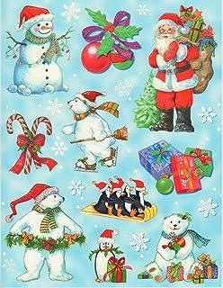 Weihnachtsmann baut einen Schneemann 34 x 45 cm Fensterbild