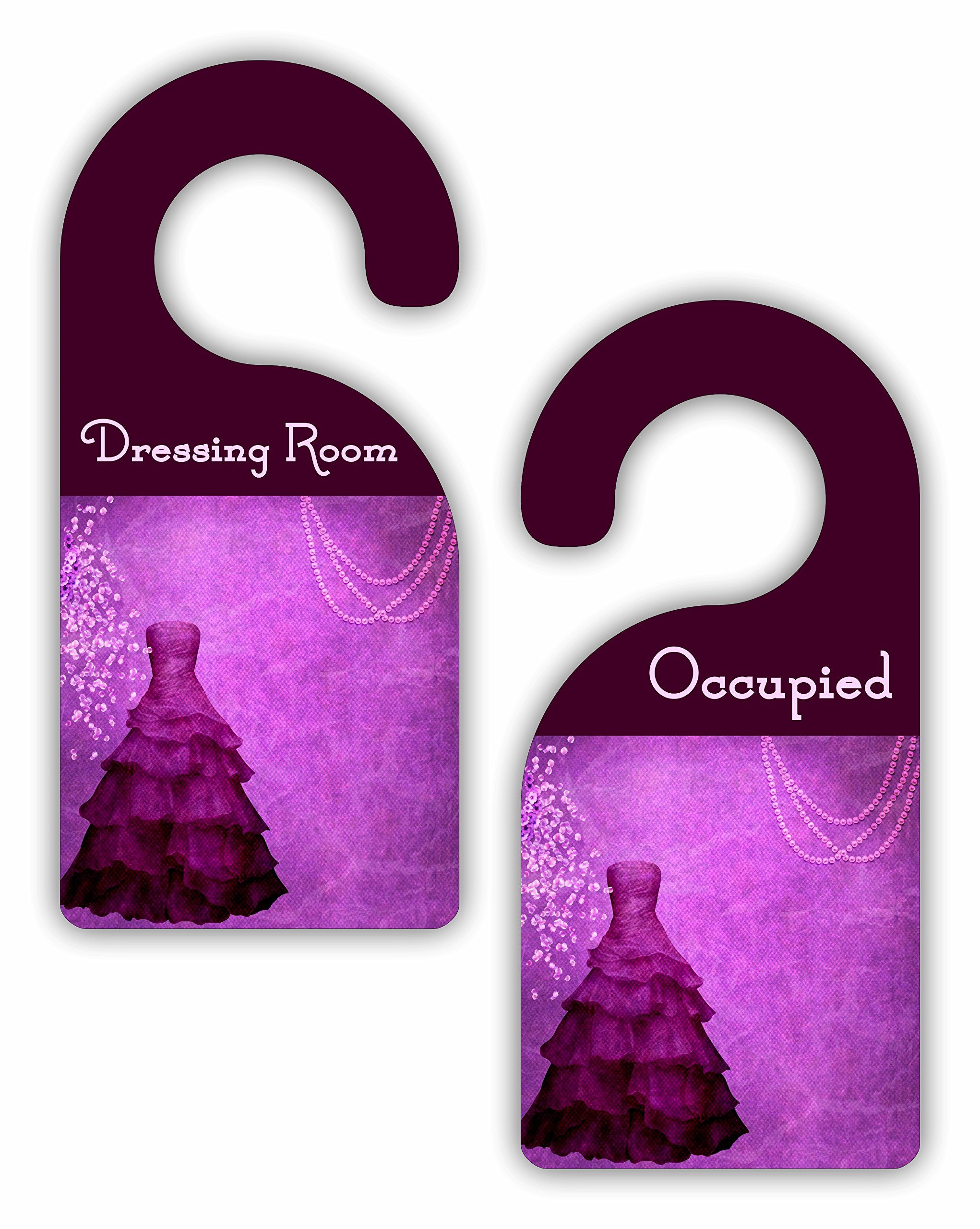 Dressing Room - Occupied - Boutique / Closet / Store Room Door Sign Hanger - Double Sided - Hard Plastic - Glossy Finish