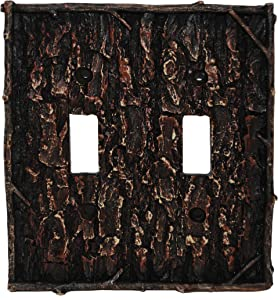 HiEnd Accents Lodge Pine Bark Double Switch Plate