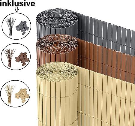 PVC Sichtschutzmatte 140x400 cm braun Balkon Sichtschutz Zaun Windschutz