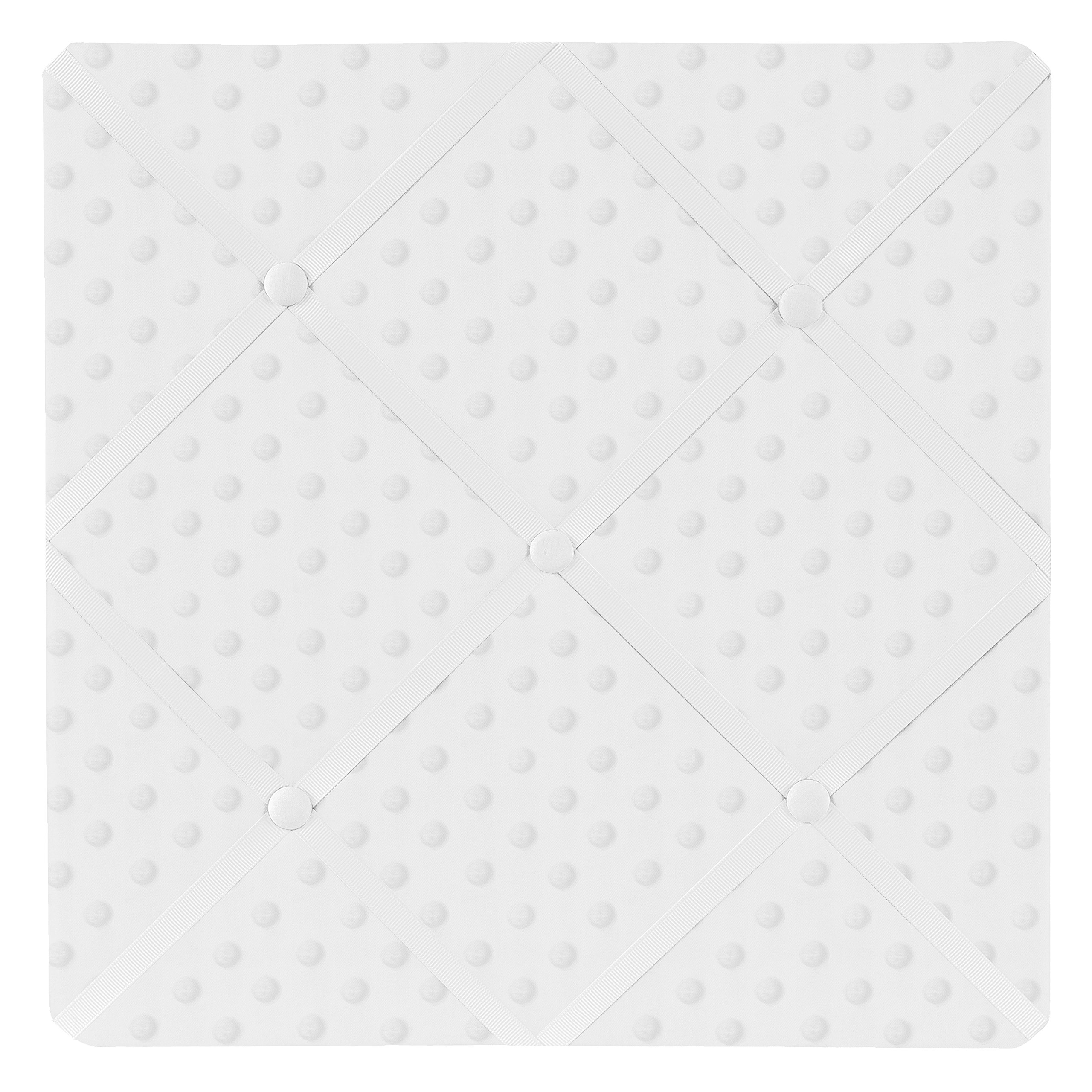 Sweet Jojo Designs Solid White Minky Dot Fabric Memory/Memo Photo Bulletin Board