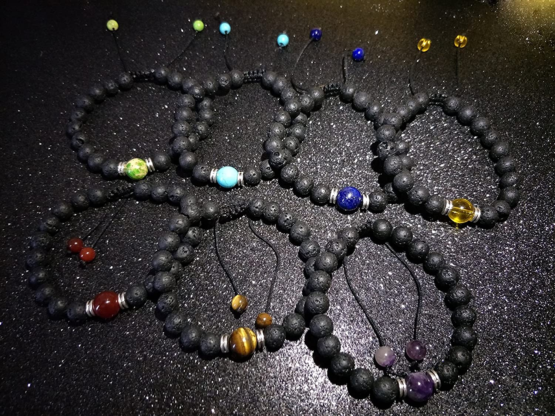 YOGA GEMSTONE JEWELRY 7 Pcs 7 Chakra Gemstone Bracelet with Jewelry Bag & Meaning Card Natural Stones Stretch Bracelets Yoga Reiki Prayer Beads Lucky Lava Rock Bracelet