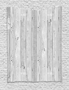 """Ambesonne Grey Tapestry, Picture of Smooth Oak Wood Texture in Old Fashion Retro Style Horizontal Nature Design Home, Wall Hanging for Bedroom Living Room Dorm Decor, 40"""" X 60"""", Gray"""