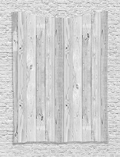 Ambesonne Grey Tapestry, Picture of Smooth Oak Wood Texture in Old Fashion Retro Style Horizontal Nature Design Home, Wall Hanging for Bedroom Living Room Dorm, 60 X 80 , Gray