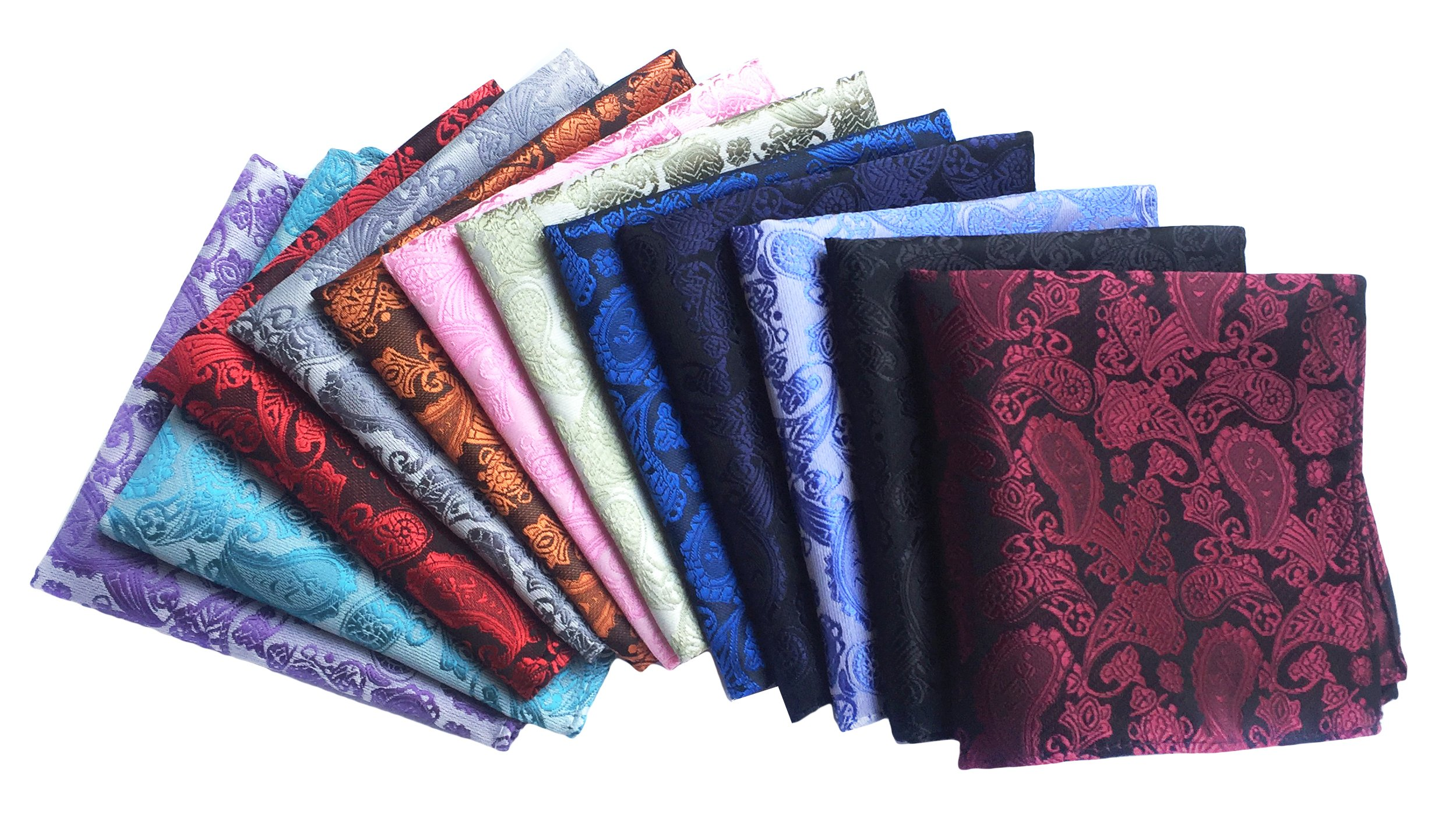 MENDENG Men's 12 Pack Handkerchief Paisley Pocket Square Wedding Party Hanky