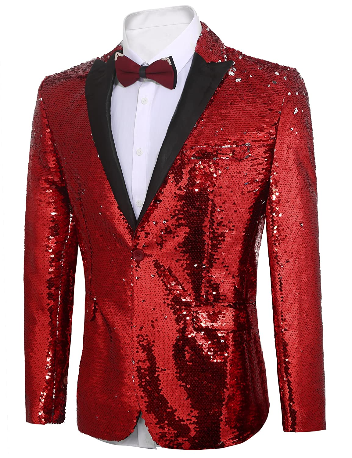 3688a2f82df COOFANDY Men s Shiny Sequins Suit Jacket Blazer One Button Tuxedo for Party