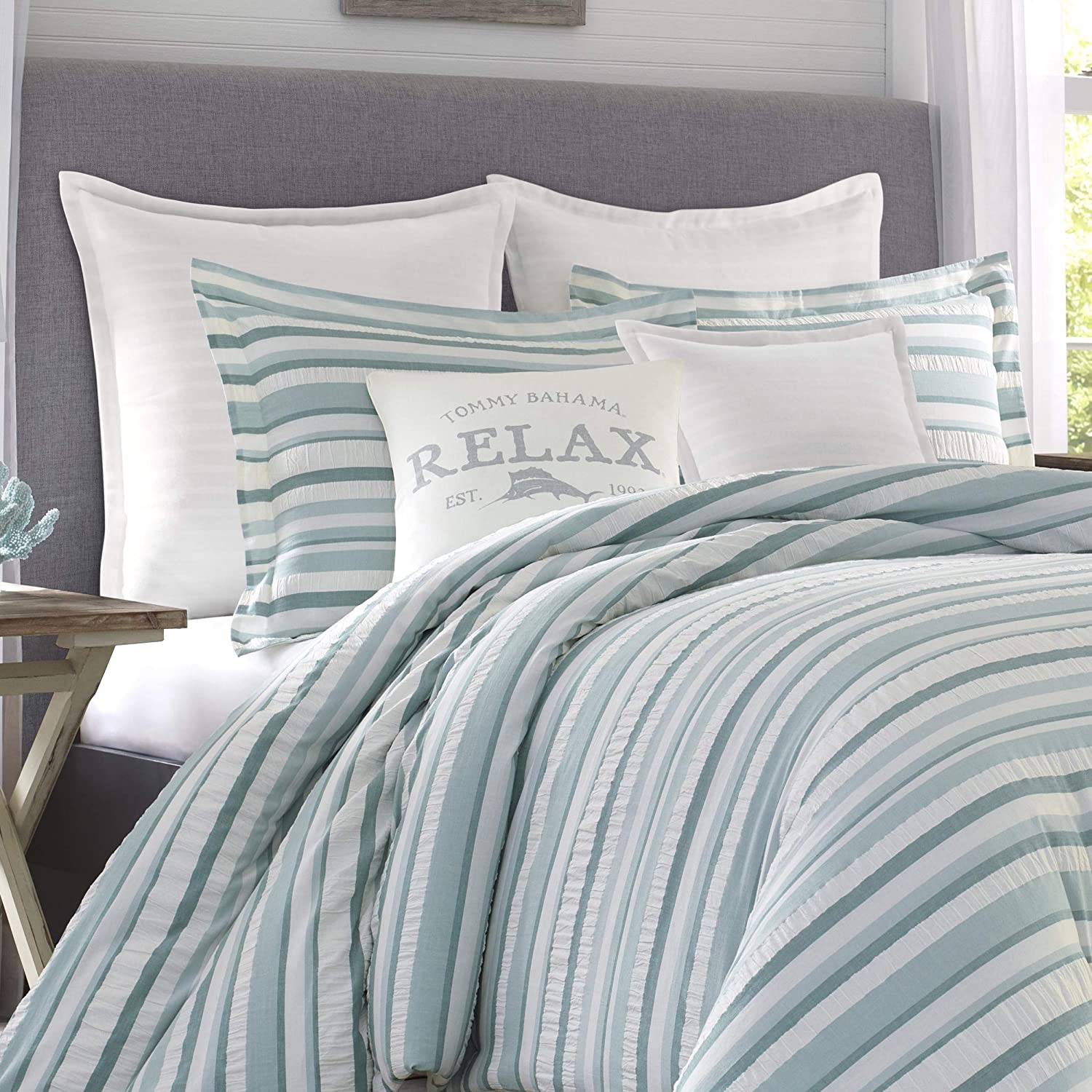 Relax by Tommy Bahama Clearwater Cay Blue Comforter Set Full//Queen