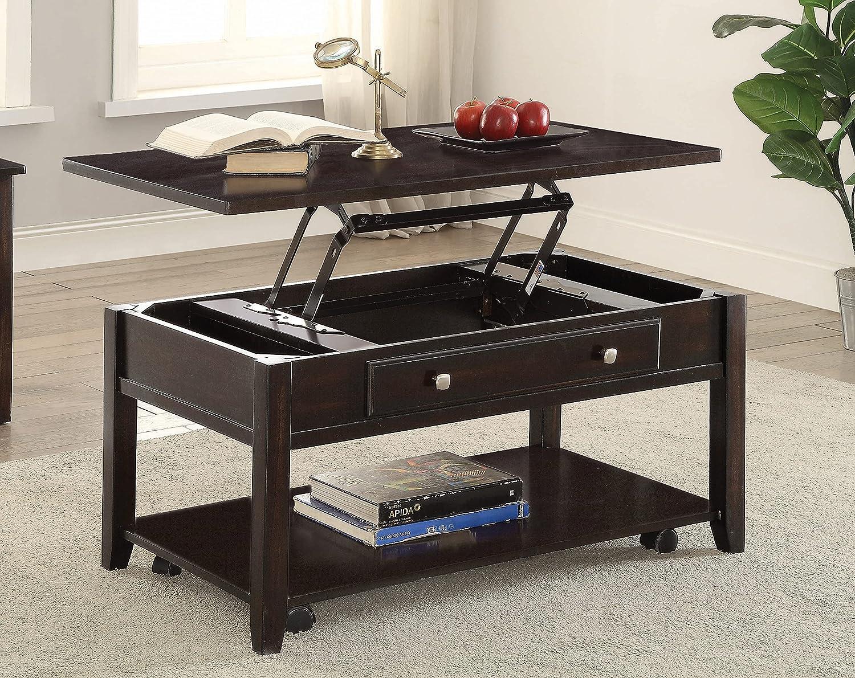 Coaster Home Furnishings Rectangular Lift Top Coffee Table, Walnut