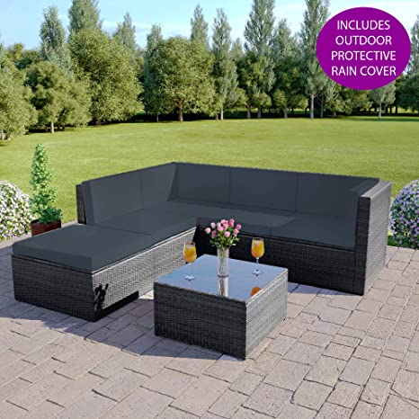 Abreo Rattan Modular 7 Seater Corner Sofa Set Outdoor Garden Furniture Set With Coffee Table Patio Conservatory 6 Piece Dark Solid Grey Dark Cushions Barcelona Amazon Co Uk Garden Outdoors