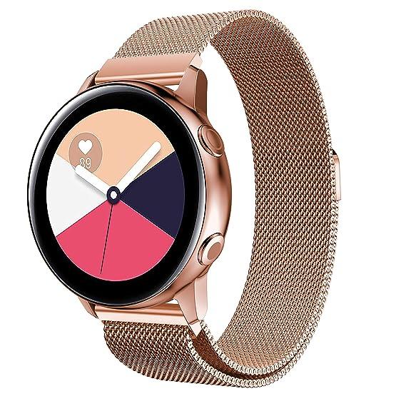 TOPsic für Samsung Galaxy Watch Active Armband/Galaxy Watch 42mm Armband/Gear Sport Armband 20mm Edelstahl Metall Ersatzband