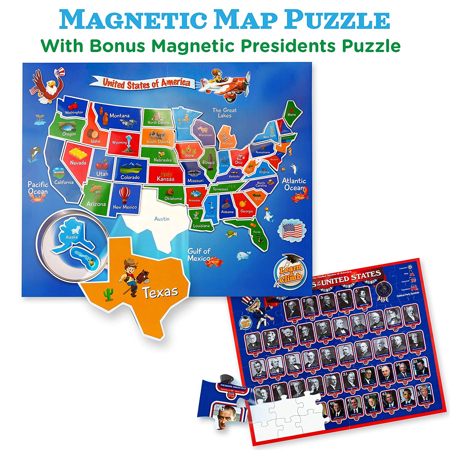Amazon Com Usa Map Presidents Puzzles For Kids Ages 4 8 2 In 1