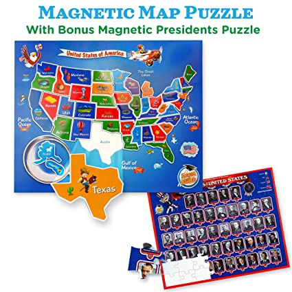 USA Map & Presidents Puzzles for Kids Ages 4-8. 2-in-1 Magnetic United  States Puzzle Kit. Great for Fridge!