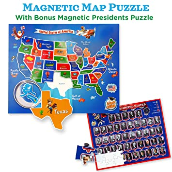 Amazon.com: USA Map & Presidents Puzzles for Kids Ages 4-8. 2-in-1 ...