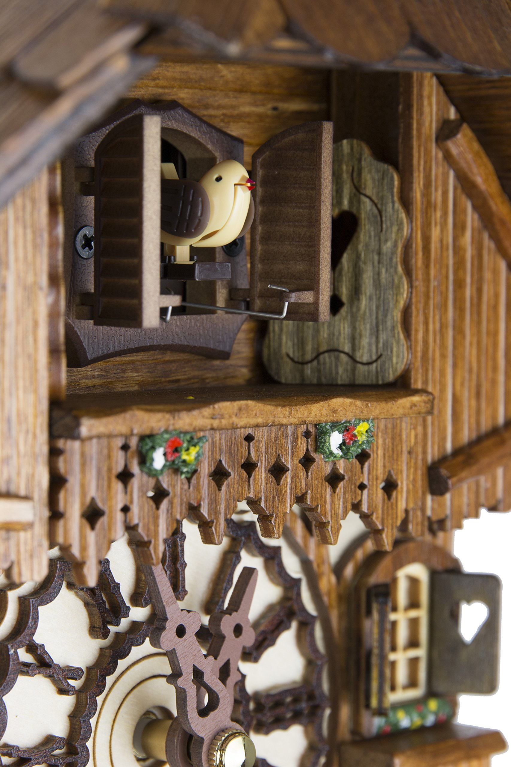 German Cuckoo Clock - Blackforest Hillside Chalet with wonderful animals - BY CUCKOO-PALACE with quartz movement - 10 1/4 inches height by Cuckoo-Palace (Image #4)