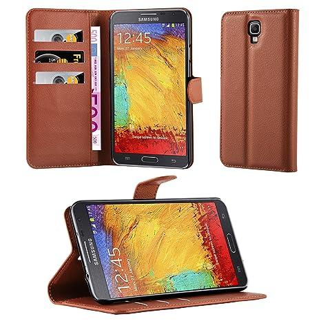 Cadorabo Custodia Libro per Samsung Galaxy Note 3 Neo in Marrone Pastello – con Vani di Carte, Funzione Stand e Chiusura Magnetica – Portafoglio Cover Case Wallet Book Etui Protezione