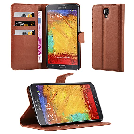 info for 0f298 cac33 Cadorabo Book Case Works with Samsung Galaxy Note 3 NEO in Saddle Brown –  with Magnetic Closure, Stand Function and Card Slot – Wallet Etui Cover ...