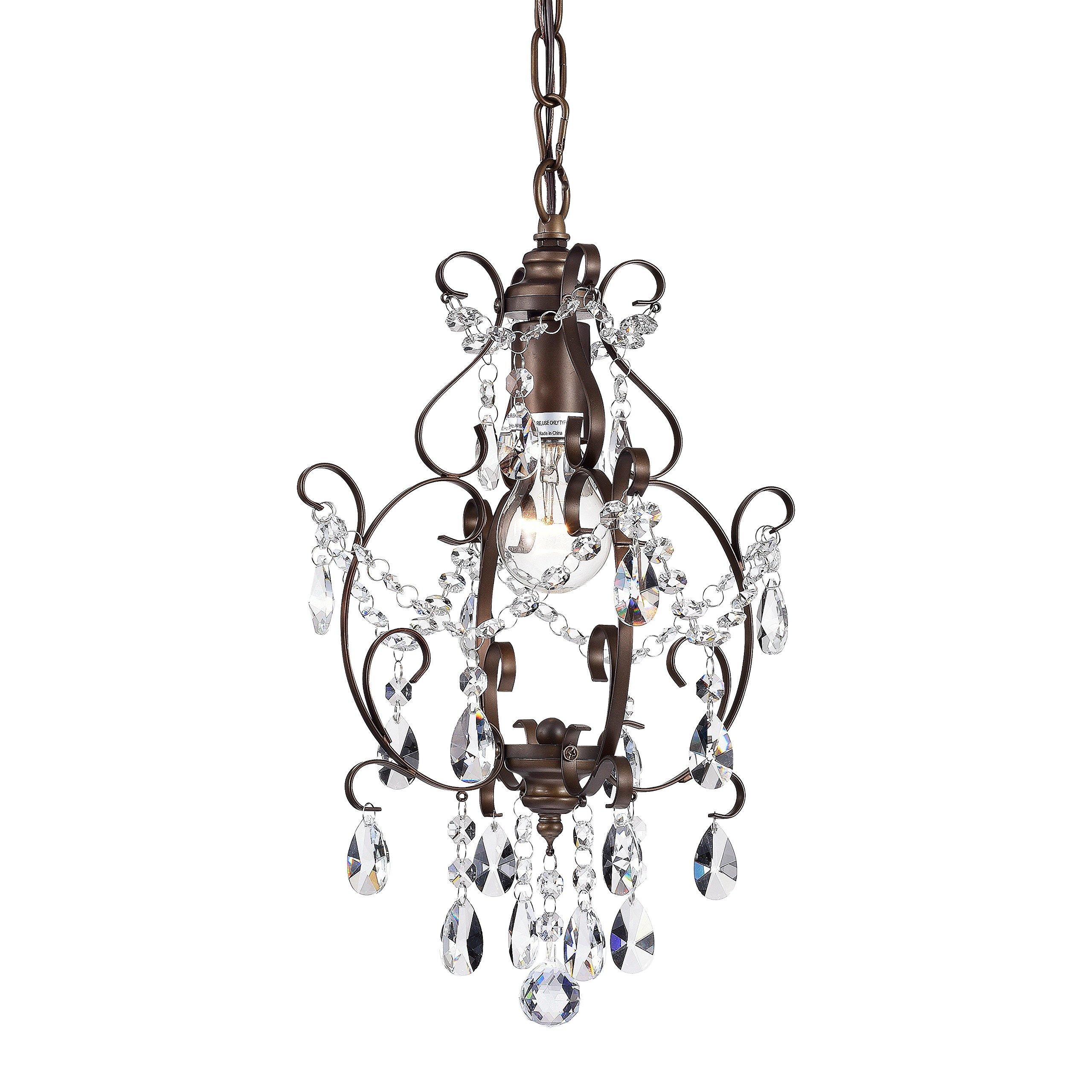 Bronze Chandelier Crystal Mini Chandelier Lighting 1 Light Ceiling Light Fixture 17043