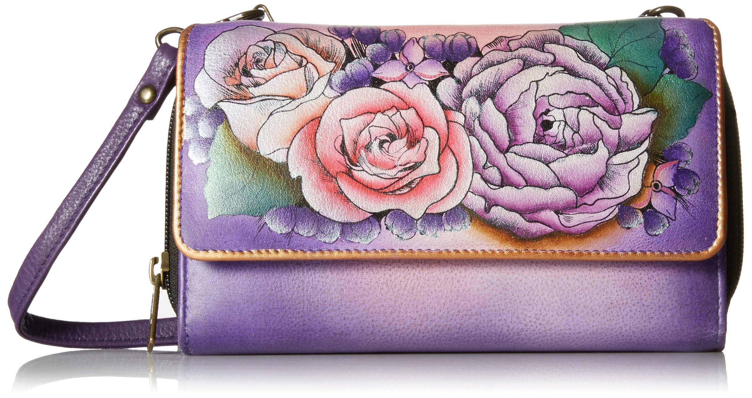 Anuschka Handpainted Leather Convertible Wallet On A String, Lush Lilac, One Size