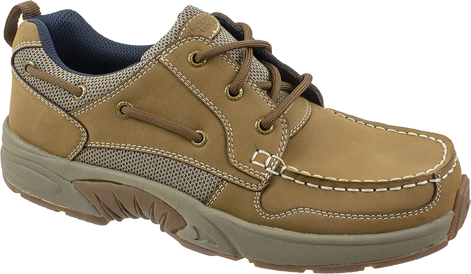 Rugged Shark Men's AXIS Boat Shoe, Premium Leather, Comfort Footbed, Tan, Men's Sizes 9 to 13 Regular and Wide