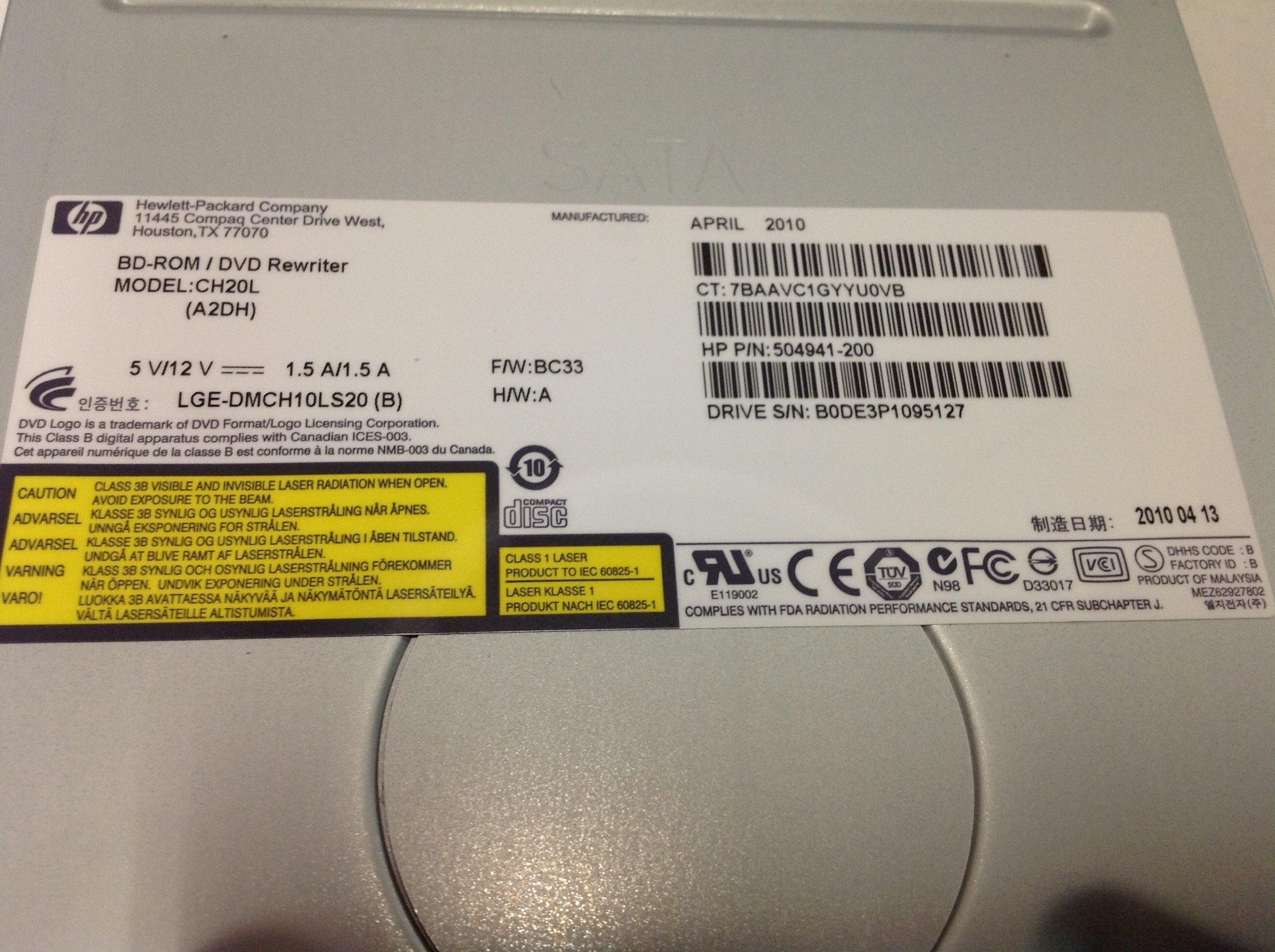 HP BD-ROM DVD Rewriter CH20L 504941-200 Drive 8X by HP (Image #2)
