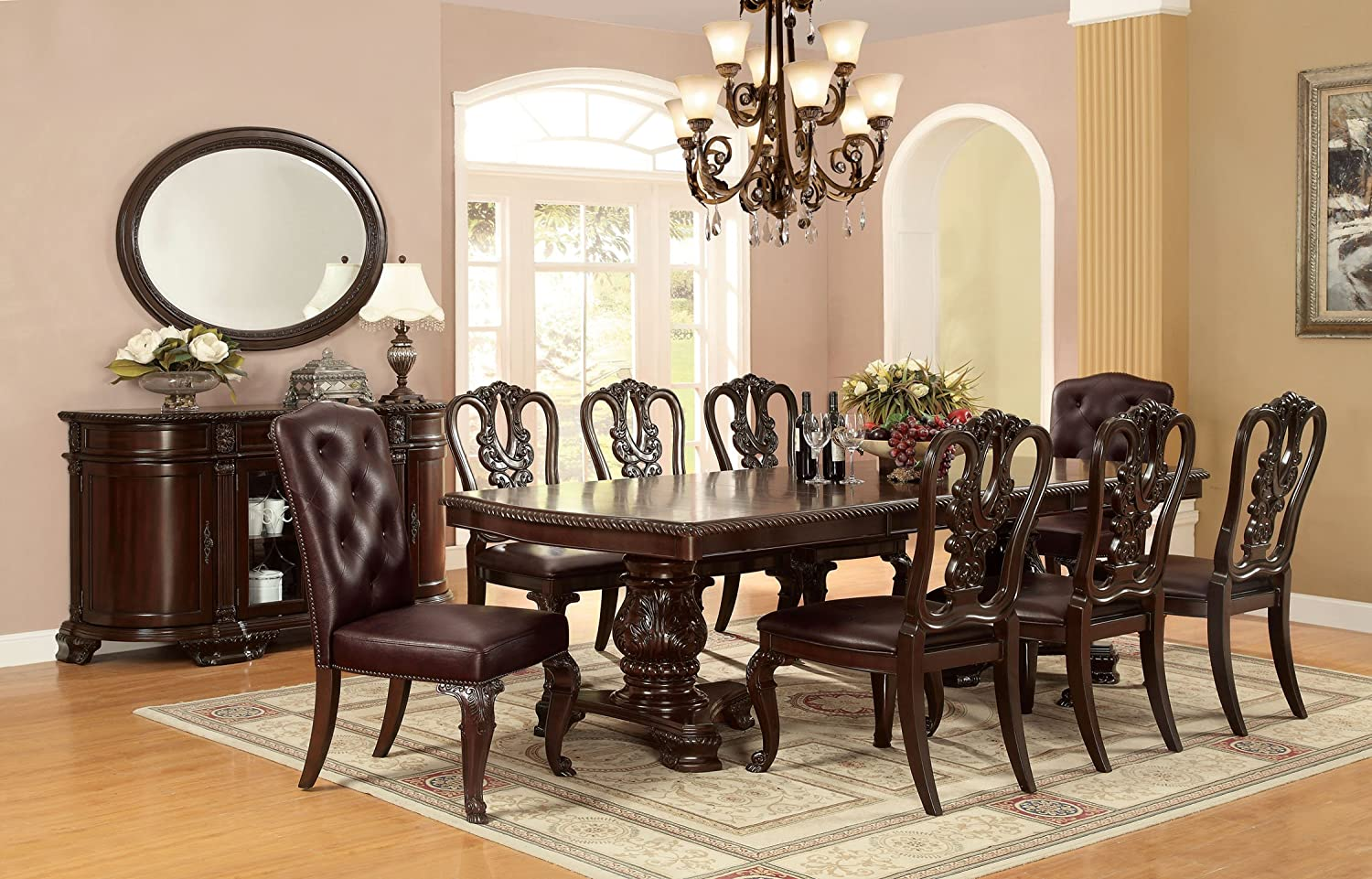 amazon com furniture of america evangelyn 7 piece dining set amazon com furniture of america evangelyn 7 piece dining set with wooden chairs cherry table chair sets