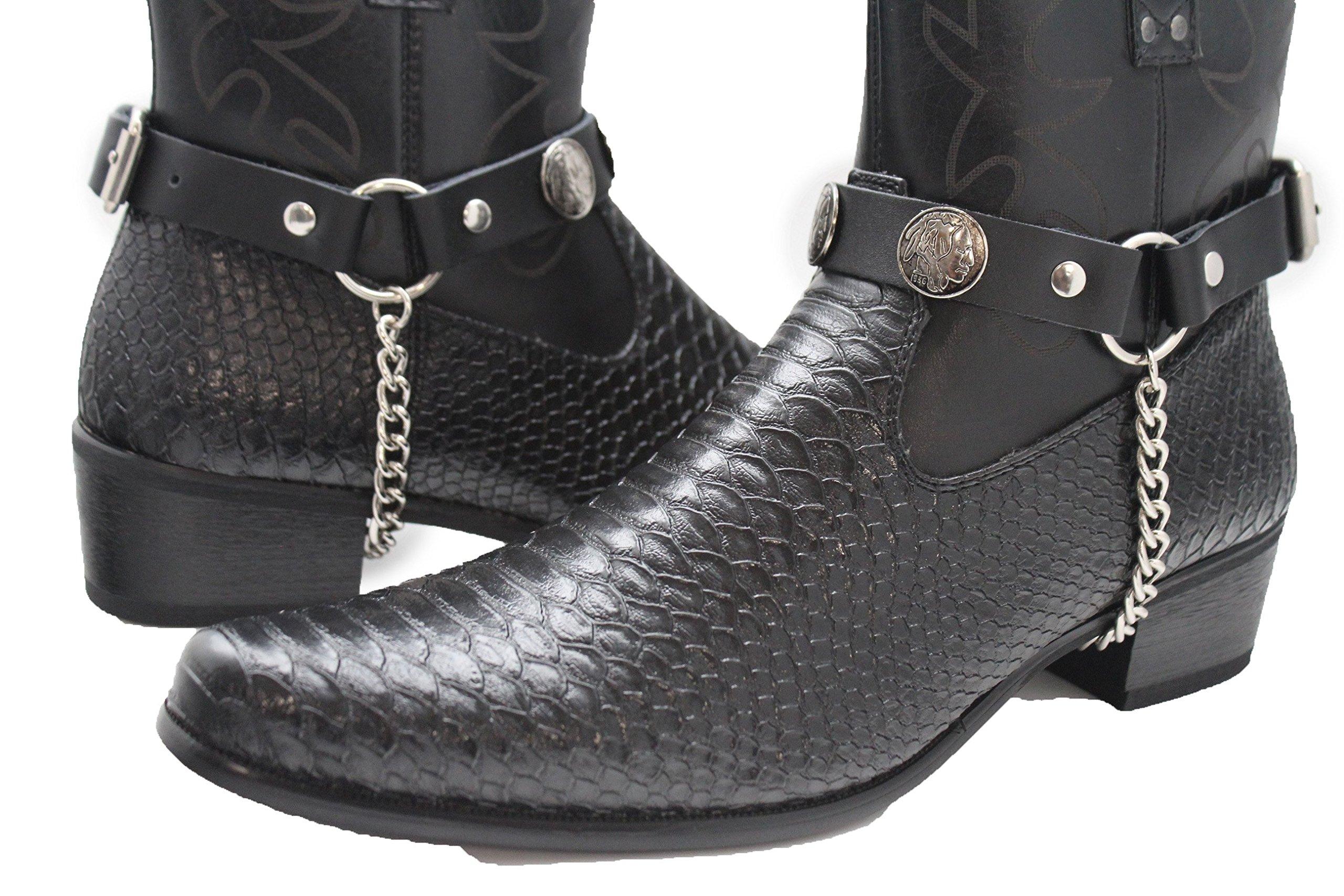 TFJ Men Biker Boot Bracelets Black Leather Straps Silver Chains Native Amrican Indian
