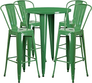 Flash Furniture 30'' Round Green Metal Indoor-Outdoor Bar Table Set with 4 Cafe Stools