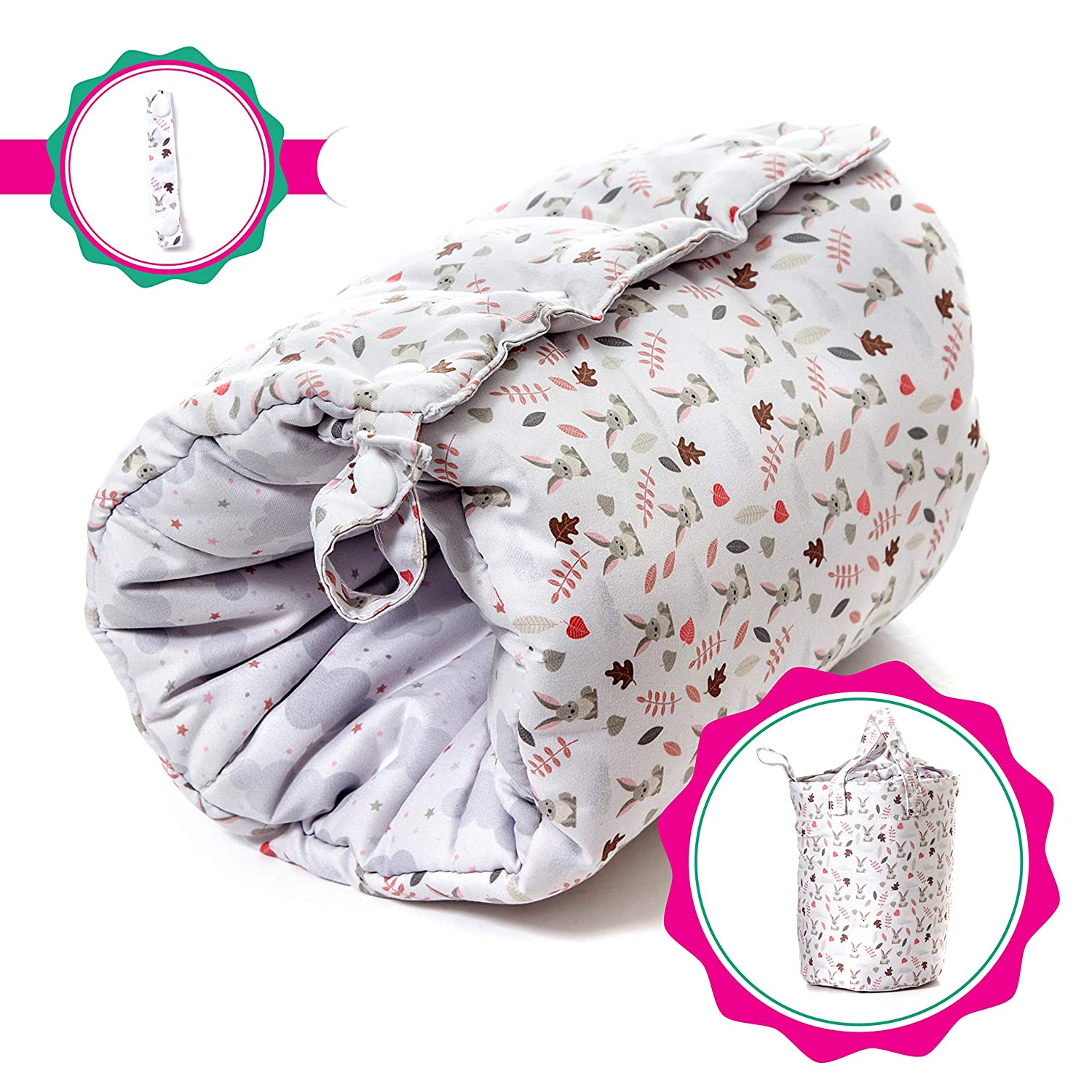 Travel Friendly Nursing Pillow, Slip On Arm Breastfeeding Pillow for Newborns & Older Babies :: Soft, Safe & Comfortable :: Reversible, Multi Use Nursing Cushion :: Includes Matching Carry Bag Fellow Pillow FP-PERENT