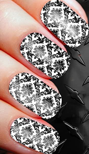 Amazon Black And White Damask Nail Art Decals Alternailtive