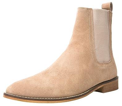 bdd05f4ab8d SANTIMON Chelsea Boots Men Suede Casual Dress Boots Ankle Boots Formal  Shoes Black Brown Grey (