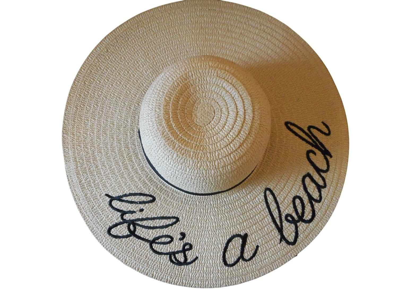 a7e5a45d957 Embroidered Sentiment Floppy Sun Hats Natural Straw   Polyester Beach Ocean  Wear (Life s a Beach)