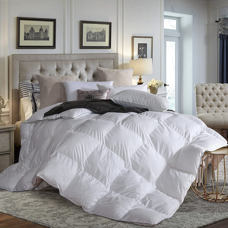 L LOVSOUL All Season Down Comforter Twin(68x90inches),Hypoallergenic Goose Down Comforter Duvet Insert with Corner Tabs,700 Fill Power,Grey Comforter L LOVSOUL BEDDING