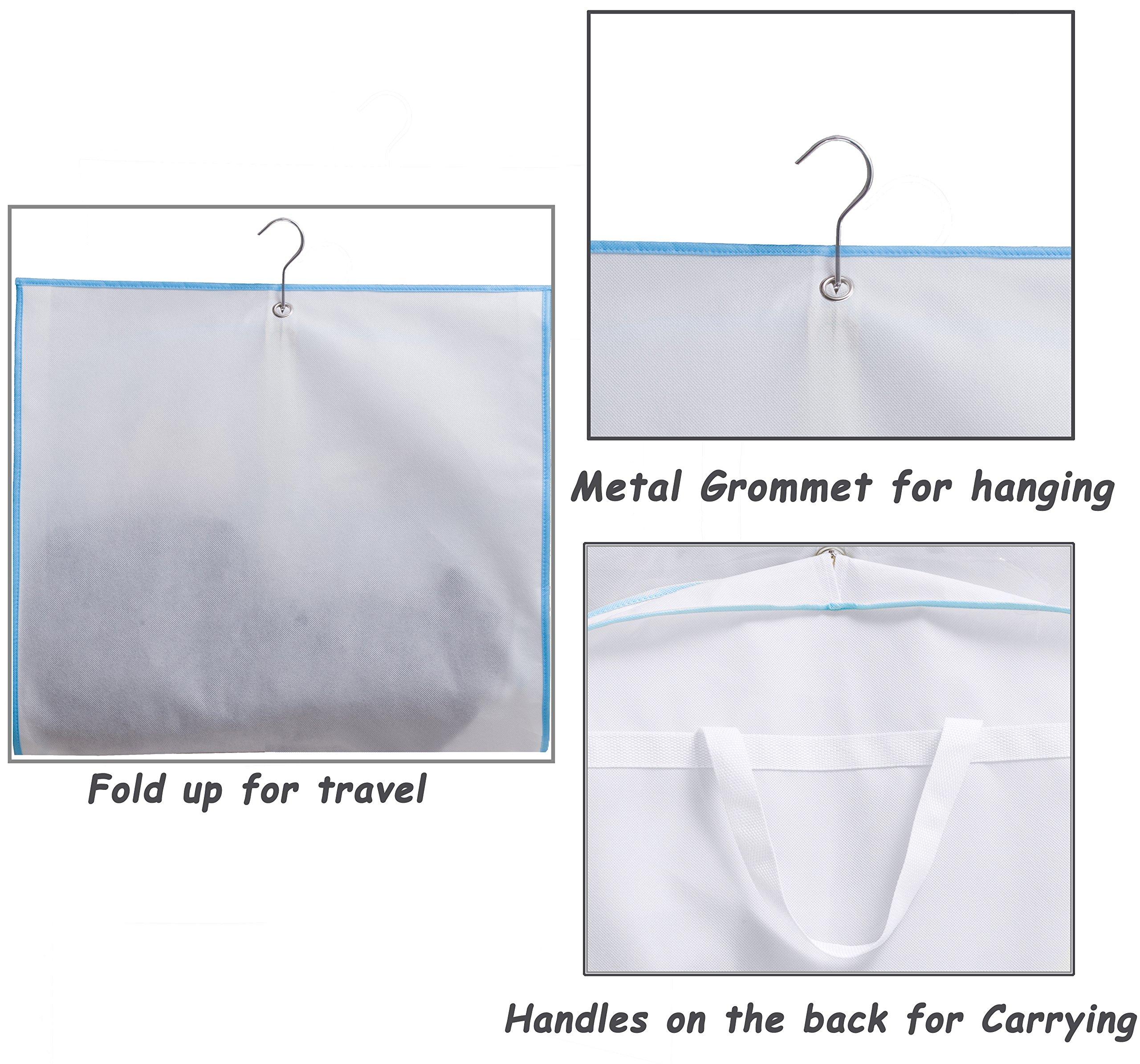 Kimbora 40'' Travel Dance/Dress Costume Garment Bag with Clear Accessories Zipper Pockets Suit Garment Cover (White) by KIMBORA (Image #5)