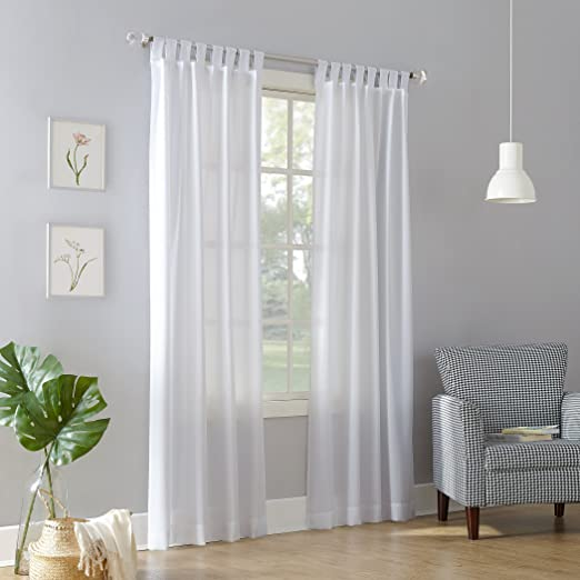 Amazon Com No 918 Trevor Heathered Texture Semi Sheer Tab Top Curtain Panel White 40 X 84 Panel Home Kitchen