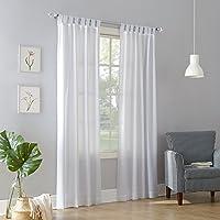 "No. 918 Trevor Semi Sheer Tab Top Curtain Panel, White, 40"" x 108"""