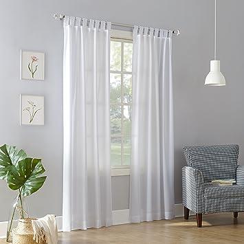No. 918 Trevor Heathered Texture Semi-Sheer Tab Top Curtain Panel, 40\