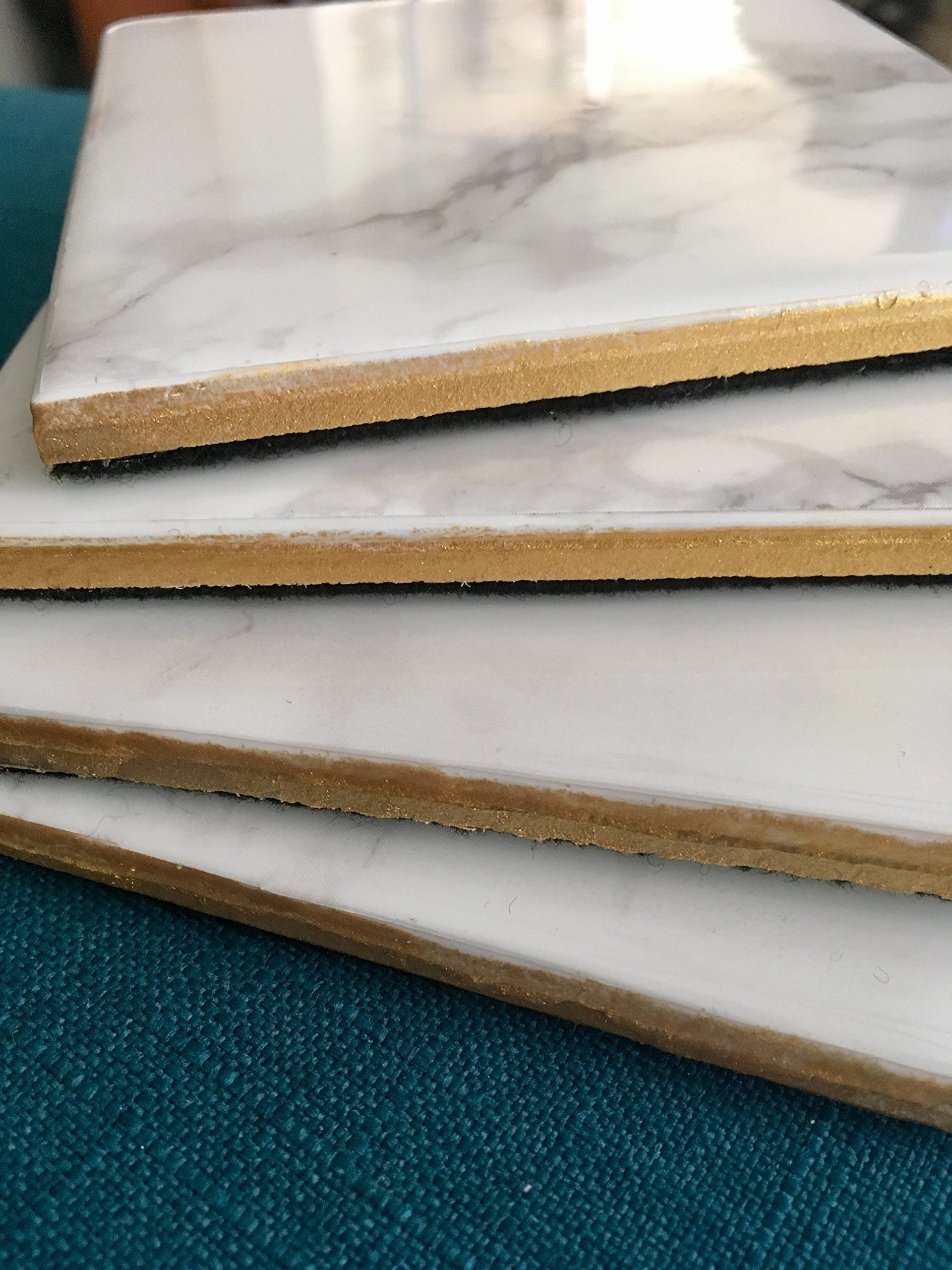 Marble and Gold Coasters Set of 4 - Minimalist Decor, Everyday Gift, Housewarming Gifts, Gift for Hostess, Birthday Gift, Coffee Tea Drinker, Wine Coasters by Lakay Treasures