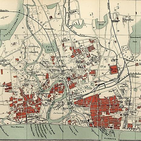 Madras India Map.Amazon Com Channai Madras India 1909 Very Detailed Old Color Litho