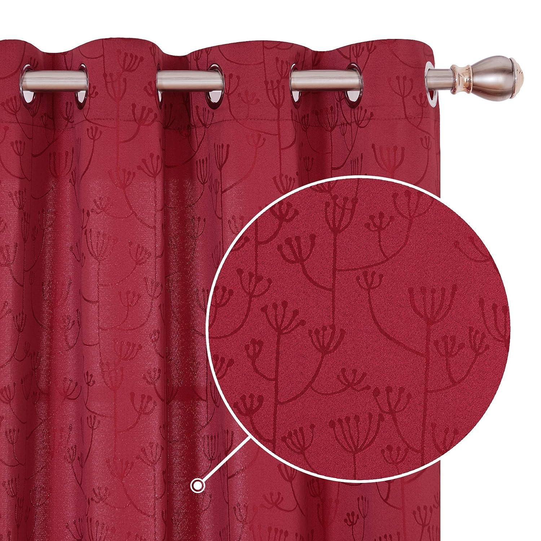 Deconovo Cortinas Opacas de Sal/ón Dormitorio Moderno Infantiles con Motivo Dientes de Leon 2 Piezas 132x138cm Rosa