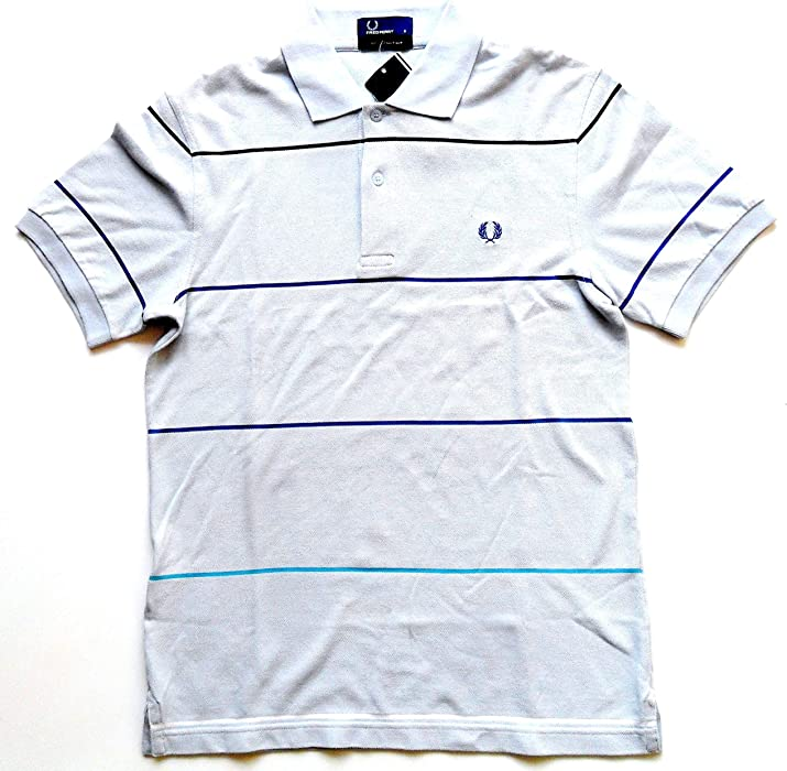 18d53f182 Fred Perry Striped Pique Polo T-Shirt M8260 Sky Blue Small  Amazon ...
