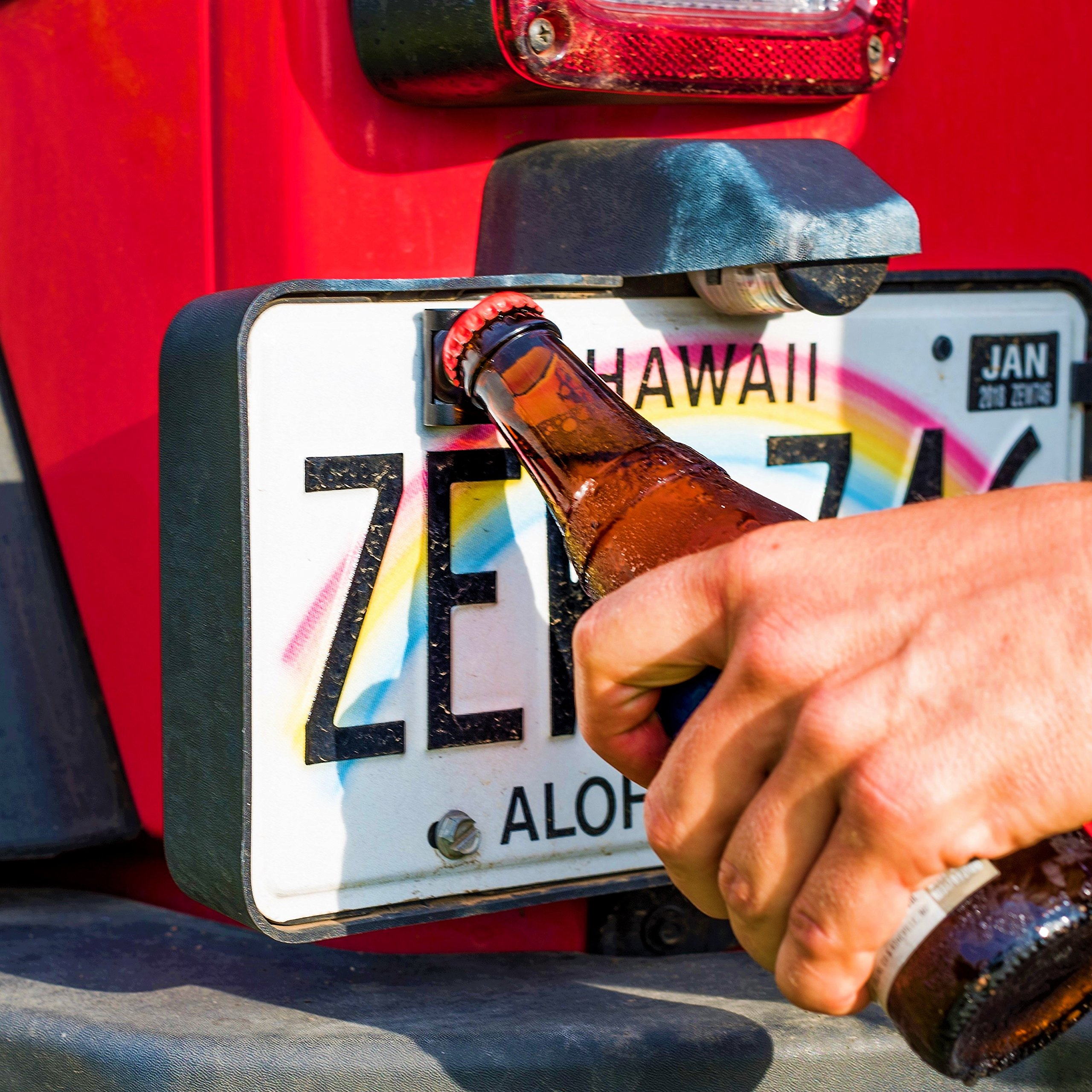 Rear License Plate Mounted Bottle Opener Tailgate Accessory fits Jeep Wrangler JL, JK, JKU and TJ Models - Awesome for Tailgating and a Great Addition to Your Jeep Wrangler Accessories