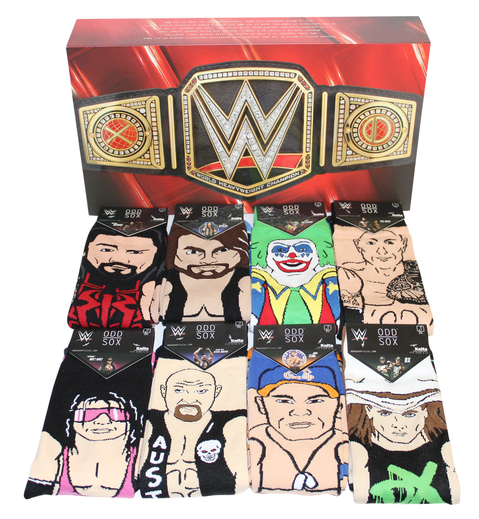 Odd Sox Limited Edition WWE Legends Gift Box Set 360 Knit Crew Sock (8-Pair) by Odd Sox (Image #1)
